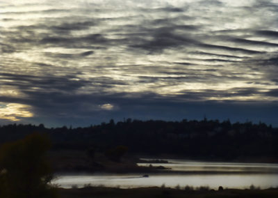 Boat on Folsom Lake at Dusk